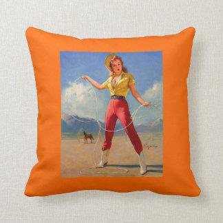 Vintage Gil Elvgren Ranch Western Pin up girl Pillow