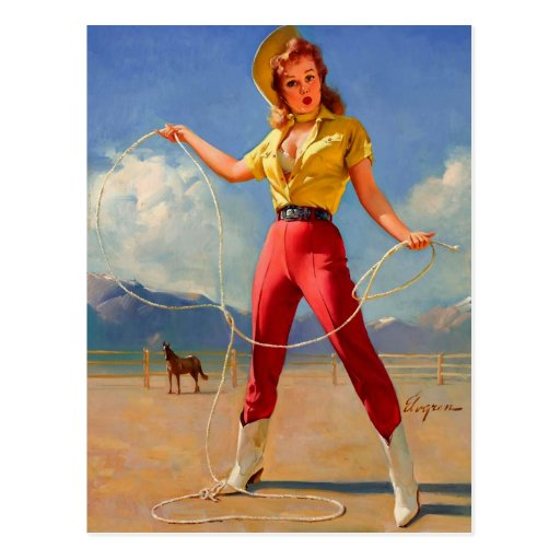 Vintage Gil Elvgren Ranch Western Pin up girl Post Card