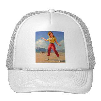 Vintage Gil Elvgren Ranch Western Pin up girl Trucker Hat