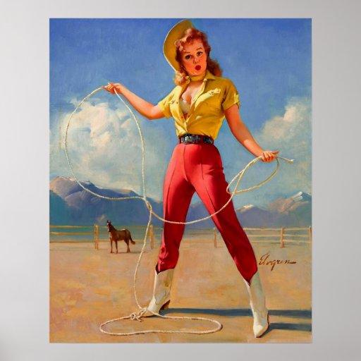 Vintage Gil Elvgren Ranch Western Pinup girl Poster