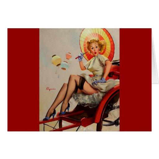 Vintage Gil Elvgren Rickshaw Pin up girl Greeting Card