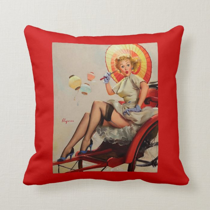 vintage Gil Elvgren Rickshaw Pin up girl pillow