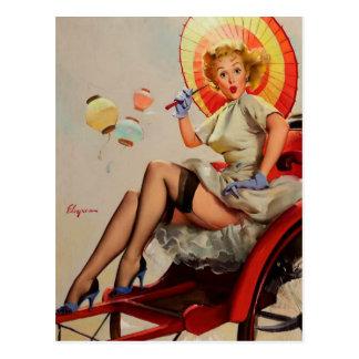 Vintage Gil Elvgren Rickshaw Pin up girl Post Card