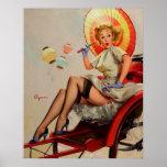 Vintage Gil Elvgren Rickshaw Pin Up Girl Posters