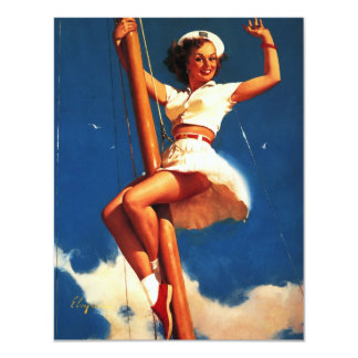 Vintage Gil Elvgren Sail Boat Sailing Pin UP Girl Card