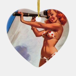 Vintage Gil Elvgren Sail Boat Sailing Pin UP Girl Ceramic Ornament