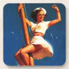 Vintage Gil Elvgren Sail Boat Sailing Pin UP Girl Drink Coaster