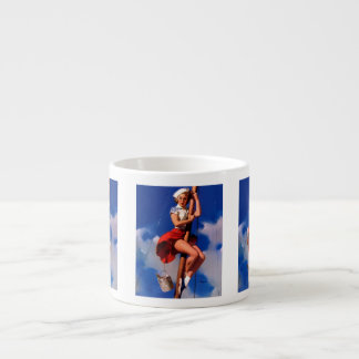 Vintage Gil Elvgren Sail Boat Sailing Pin UP Girl Espresso Cup