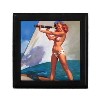 Vintage Gil Elvgren Sail Boat Sailing Pin UP Girl Jewelry Box