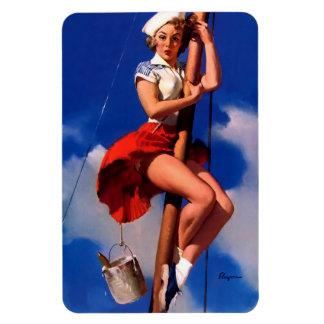 Vintage Gil Elvgren Sail Boat Sailing Pin UP Girl Magnet