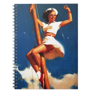 Vintage Gil Elvgren Sail Boat Sailing Pin UP Girl Notebook