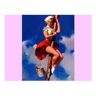 Vintage Gil Elvgren Sail Boat Sailing Pin UP Girl Postcard