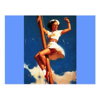 Vintage Gil Elvgren Sail Boat Sailing Pin UP Girl Post Card
