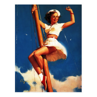 Vintage Gil Elvgren Sail Boat Sailing Pin UP Girl Postcard
