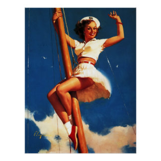 Vintage Gil Elvgren Sail Boat Sailing Pin UP Girl Posters