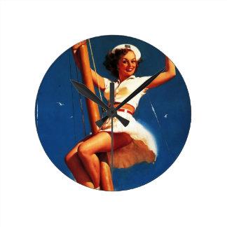 Vintage Gil Elvgren Sail Boat Sailing Pin UP Girl Round Clock