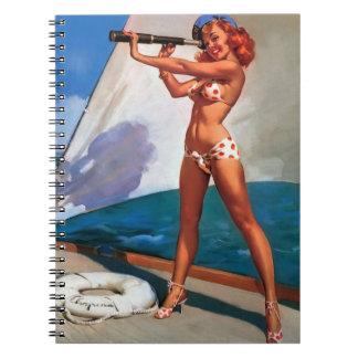 Vintage Gil Elvgren Sail Boat Sailing Pin UP Girl Spiral Notebook