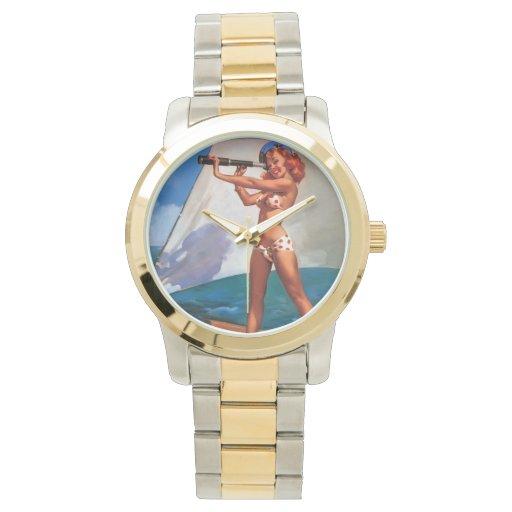 Vintage Gil Elvgren Sail Boat Sailing Pin UP Girl Wrist Watches