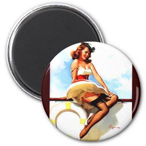 Vintage Gil Elvgren Sailor Nautical Pin up Girl 2 Inch Round Magnet