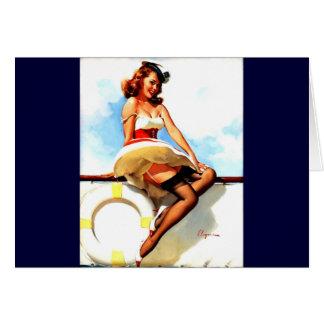 Vintage Gil Elvgren Sailor Nautical Pin up Girl Card