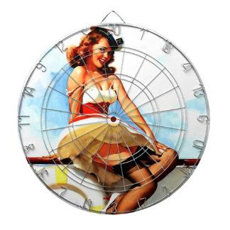 Vintage Gil Elvgren Sailor Nautical Pin up Girl Dartboard With Darts