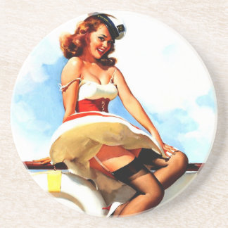 Vintage Gil Elvgren Sailor Nautical Pin up Girl Drink Coaster