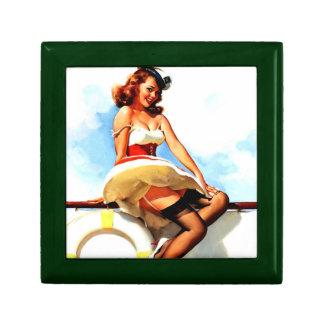 Vintage Gil Elvgren Sailor Nautical Pin up Girl Trinket Boxes
