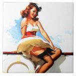 Vintage Gil Elvgren Sailor Nautical Pin up Girl Ceramic Tile