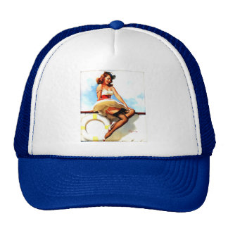 Vintage Gil Elvgren Sailor Nautical Pin up Girl Trucker Hat