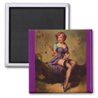 Vintage Gil Elvgren Slingshot Pin Up Girl Magnet