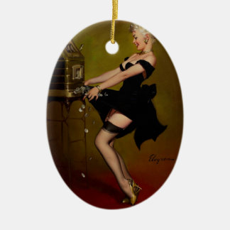 Vintage Gil Elvgren Slot Machine Pinup Girl Ceramic Ornament