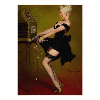 Vintage Gil Elvgren Slot Machine Pinup Girl Custom Announcements