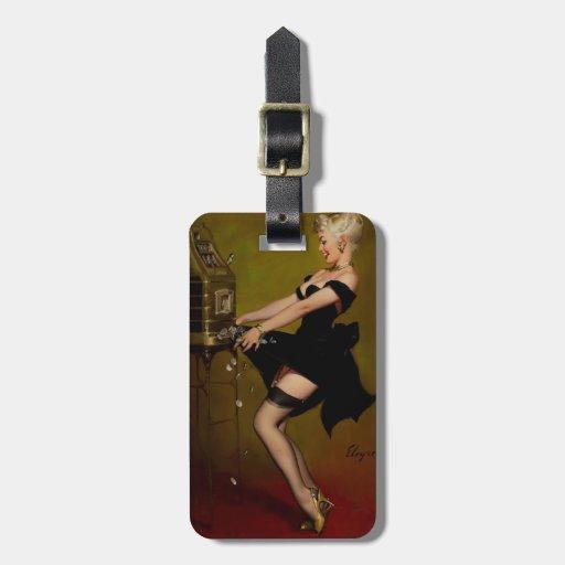 Vintage Gil Elvgren Slot Machine Pinup Girl Bag Tags