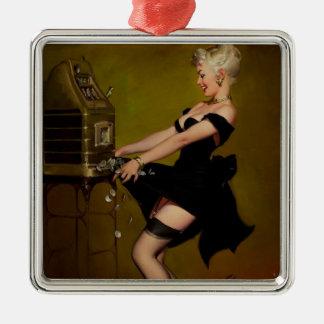 Vintage Gil Elvgren Slot Machine Pinup Girl Metal Ornament