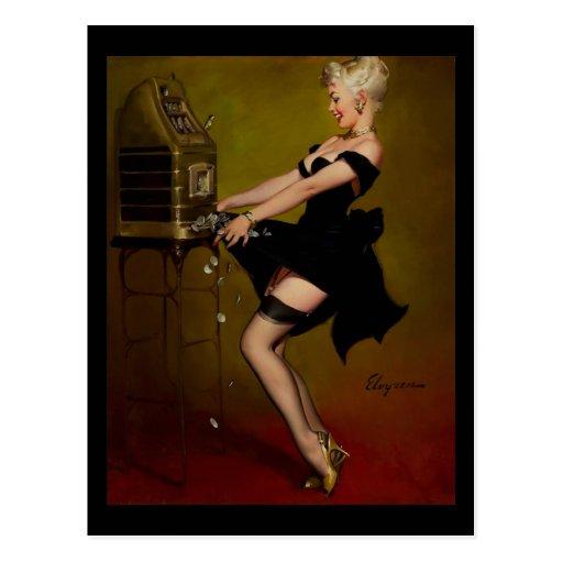 Vintage Gil Elvgren Slot Machine Pinup Girl Postcard