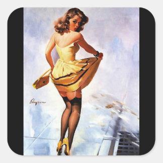 Vintage Gil Elvgren Splash in the City Pinup Girl Square Stickers