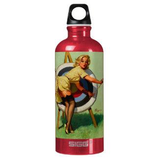 Vintage Gil Elvgren Target Archery Pinup Girl Aluminum Water Bottle