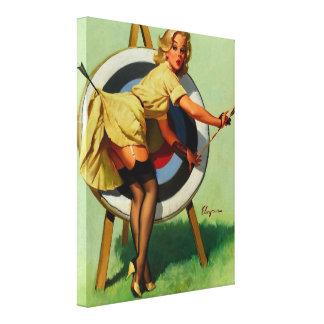 Vintage Gil Elvgren Target Archery Pinup Girl Canvas Print