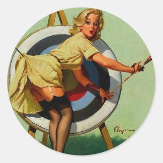 Vintage Gil Elvgren Target Archery Pinup Girl Classic Round Sticker
