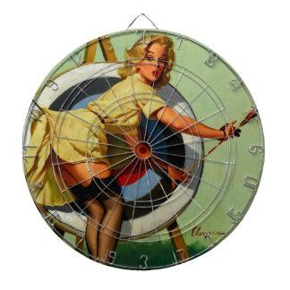 Vintage Gil Elvgren Target Archery Pinup Girl Dartboard With Darts
