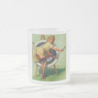 Vintage Gil Elvgren Target Archery Pinup Girl Frosted Glass Coffee Mug