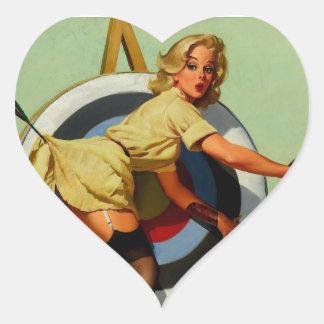 Vintage Gil Elvgren Target Archery Pinup Girl Heart Sticker