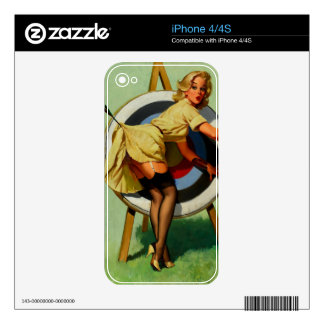Vintage Gil Elvgren Target Archery Pinup Girl iPhone 4 Decal
