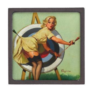 Vintage Gil Elvgren Target Archery Pinup Girl Jewelry Box
