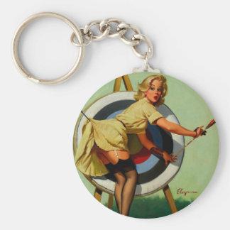 Vintage Gil Elvgren Target Archery Pinup Girl Keychain