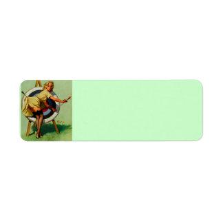 Vintage Gil Elvgren Target Archery Pinup Girl Return Address Label