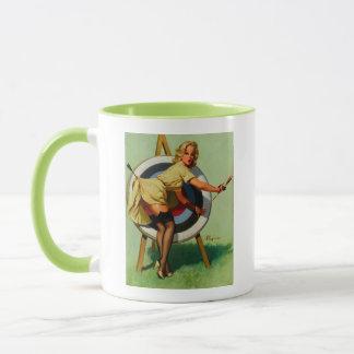 Vintage Gil Elvgren Target Archery Pinup Girl Mug