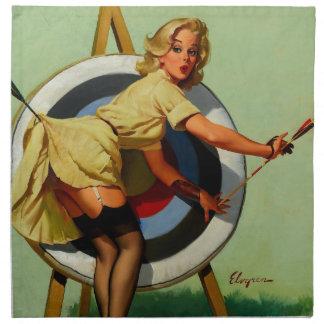 Vintage Gil Elvgren Target Archery Pinup Girl Napkin