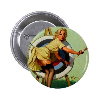 Vintage Gil Elvgren Target Archery Pinup Girl Pinback Button