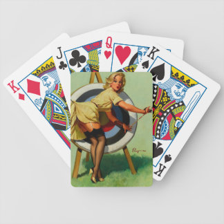 Vintage Gil Elvgren Target Archery Pinup Girl Bicycle Playing Cards